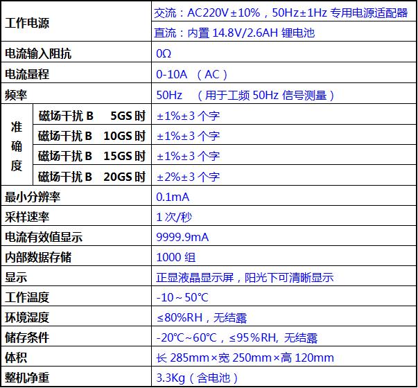 变压器铁芯电流测试仪技术指标
